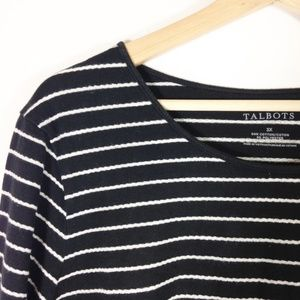 Talbots Black With White Stripe Long sleeve 3X